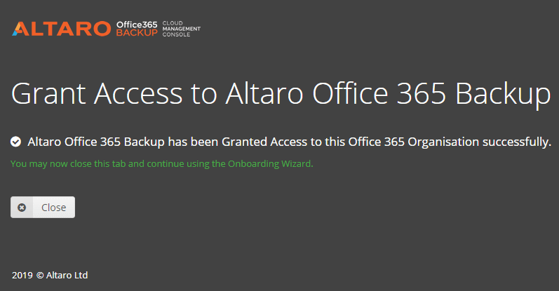 Permissions-granted-successfully-to-Altaro-Office-365-Backup Choosing the Best Office 365 Backup Solution