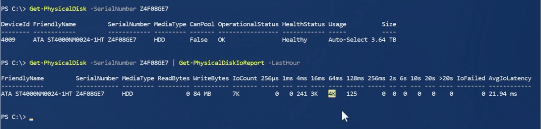 Piping-Get-PhysicalDisk-cmdlet-into-Get-PhysicalDiskIOReport-cmdlet-in-Windows-Server-2019-PowerShell Windows Server 2019 Storage Spaces Direct Features and Improvements