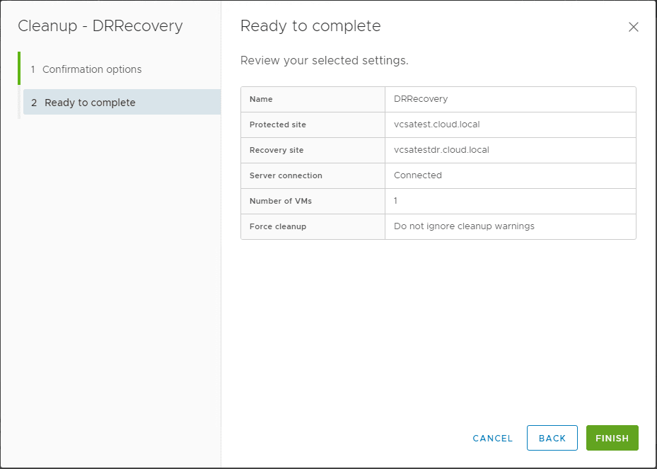 Ready-to-complete-the-cleanup-operation-in-VMware-Site-Recovery-Manager-SRM-8.1 Testing a Disaster Recovery Plan with VMware Site Recovery Manager SRM 8.1