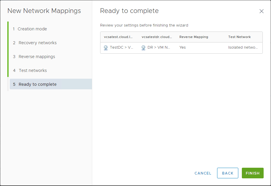 Ready-to-complete-the-new-network-mappings-wizard Automating DR Recovery Site VM Network and IP Configuration with VMware SRM 8.1
