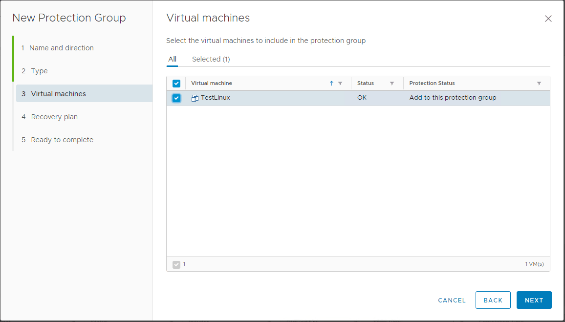 Select-the-virtual-machines-included-in-the-protection-group Create VMware vSphere Site Recovery Manager 8.1 Replication Protection Group and Recovery Plan