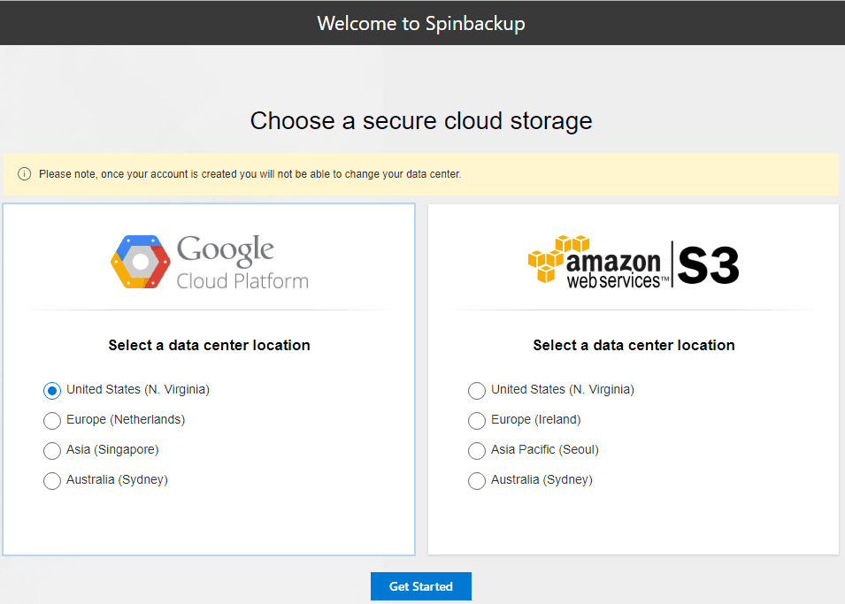 Spinbackup-allows-choosing-public-cloud-vendor-and-datacenter-for-data-storage Choosing the Best Office 365 Backup Solution