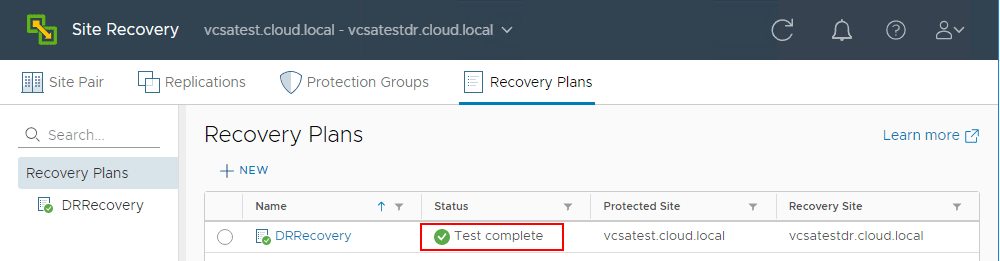 Test-of-the-VMware-Site-Recovery-Manager-SRM-8.1-recovery-completes Testing a Disaster Recovery Plan with VMware Site Recovery Manager SRM 8.1