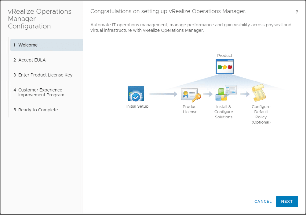 vRealize-Operations-Manager-7.0-Configuration-wizard-welcome VMware vRealize Operations 7.0 New Features Installation and Configuration