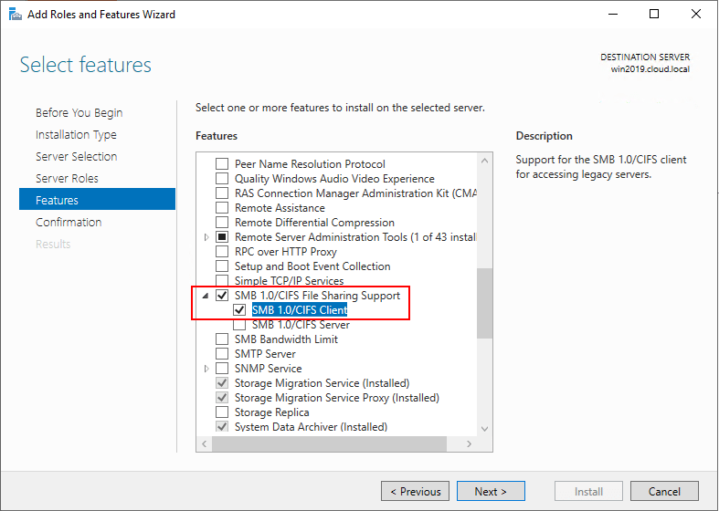 Add-support-for-SMB-1.0-and-CIFS-File-Sharing-in-Windows-Server-2019