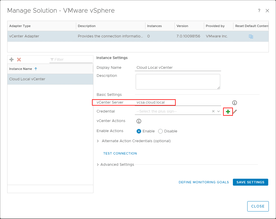 Adding-the-vCenter-Server-hostname-and-the-credentials-for-connecting VMware vRealize Operations 7.0 vCenter Connection and SMTP Configuration