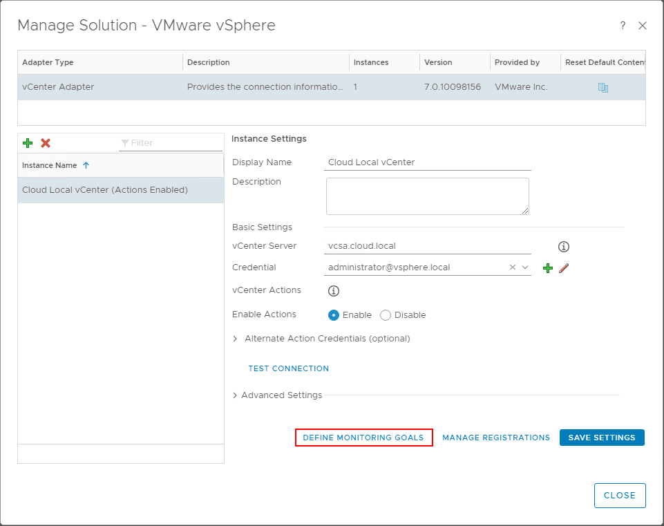 Define-Monitoring-Goals-for-vRealize-Operations-Manager-7.0 VMware vRealize Operations 7.0 vCenter Connection and SMTP Configuration
