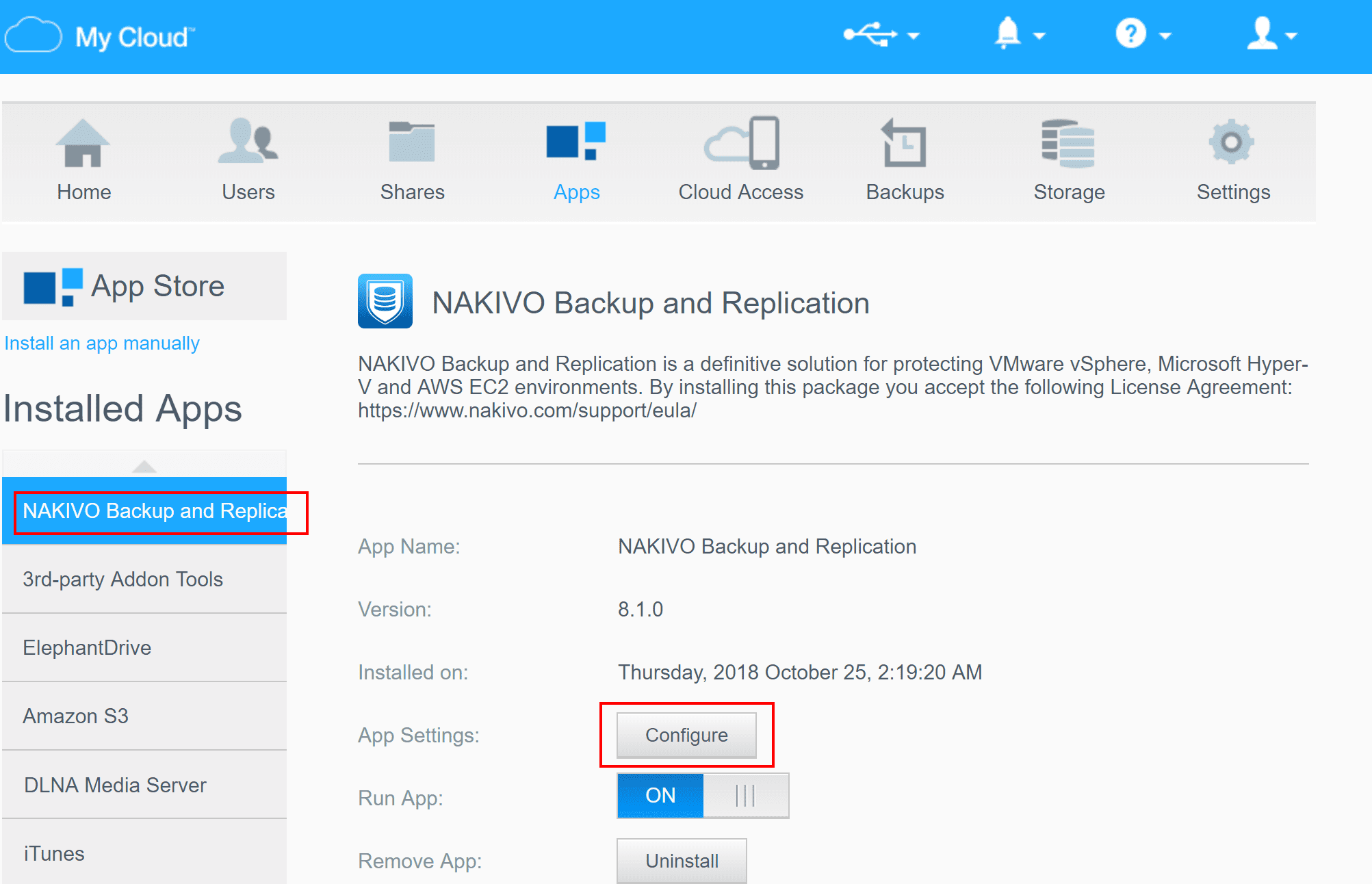NAKIVO-installed-successfully-on-WD-NAS-Able-to-configure Backup VMs Using NAS Appliance with NAKIVO