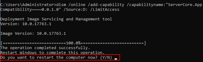 The-Features-on-Demand-FoD-package-successfully-installs-reboot-prompted Windows Server 2019 Server Core App Compatibility Feature on Demand FoD