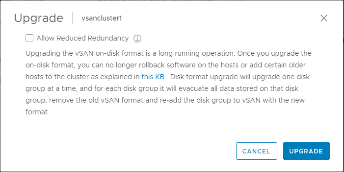 vSphere-6.7-Update-1-vSAN-On-Disk-Format-upgrade-confirmation-and-configuration Upgrade Stretched VMware vSAN Cluster to vSphere 6.7 Update 1