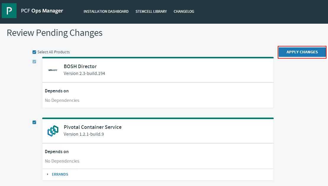 Apply-the-pending-changes-to-Pivotal-Container-Service Configuring Pivotal Container Service PKS in PCF Ops Manager Dashboard