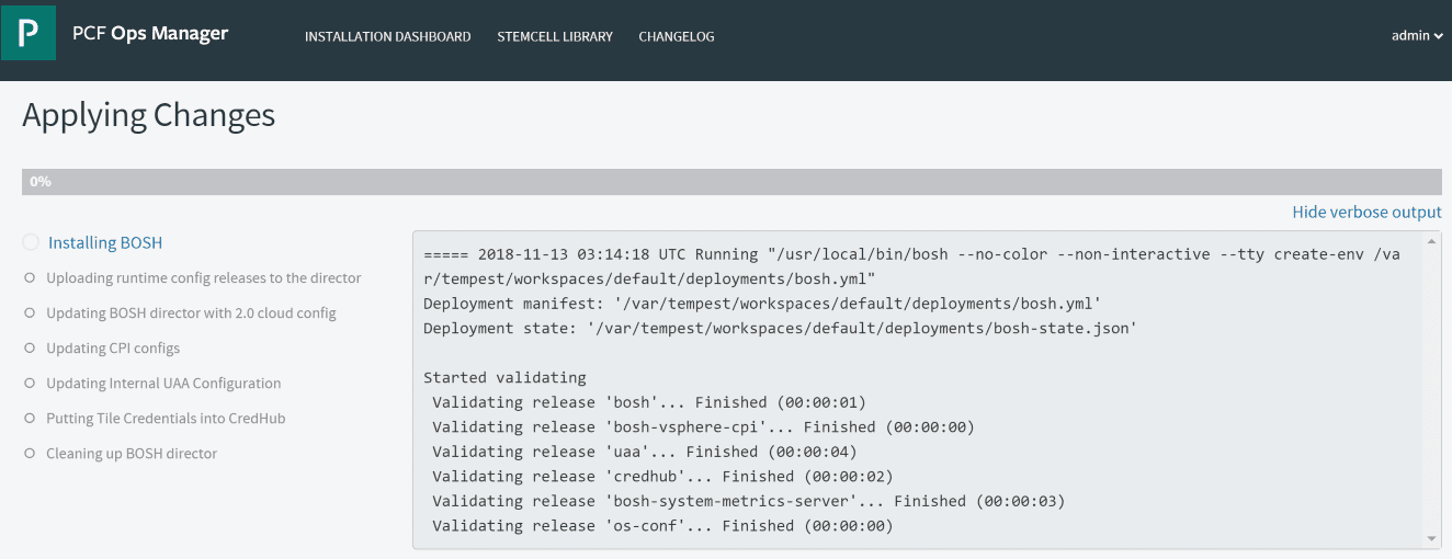 Applying-changes-will-begin-the-process-of-installing-BOSH-and-other-items-including-deploying-VMs Getting Started with VMware Pivotal Container Service PKS PCF Ops Manager Install