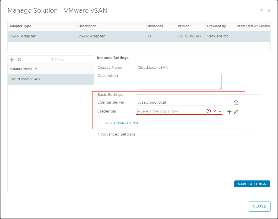 Configure-the-basic-settings-for-vSAN-monitoring-including-vCenter-Server-and-Credentials-in-vROps-7.0 Configure VMware vSAN Monitoring with vRealize Operations 7.0