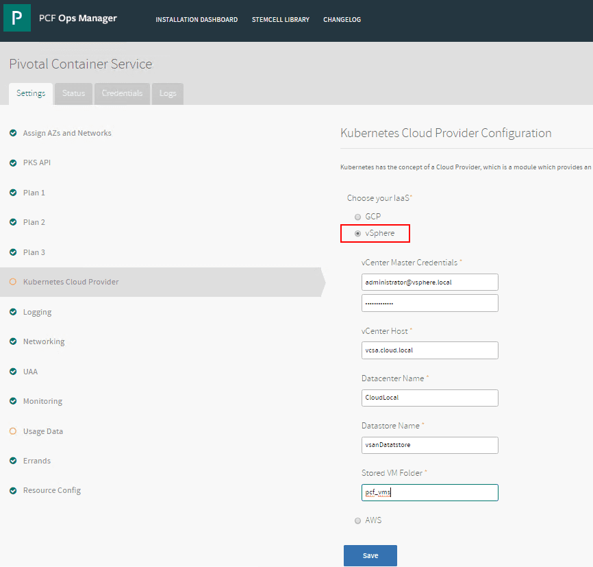 Configuring-the-Kubernetes-Cloud-Service-to-point-to-VMware-vSphere Configuring Pivotal Container Service PKS in PCF Ops Manager Dashboard