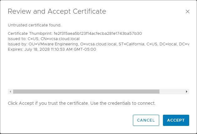 Review-and-accept-the-certificate-presented-in-connecting-to-vCenter-Server Configure VMware vSAN Monitoring with vRealize Operations 7.0