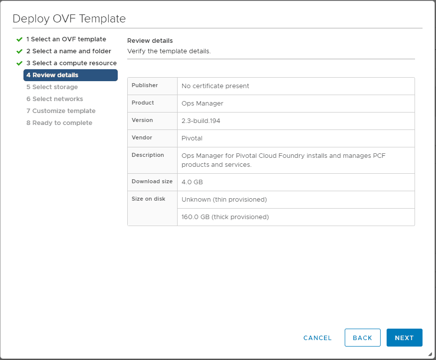 Review-the-Pivotal-Containers-Operations-Manager-OVA-deployment-details Getting Started with VMware Pivotal Container Service PKS PCF Ops Manager Install