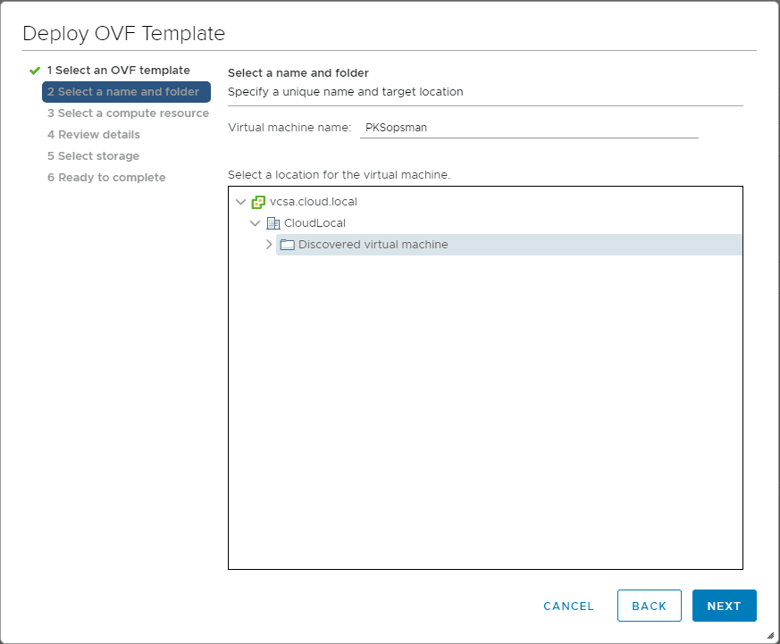 Select-a-vSphere-name-and-folder-for-the-PCF-vSphere-Appliance-for-Pivotal-Containers Getting Started with VMware Pivotal Container Service PKS PCF Ops Manager Install