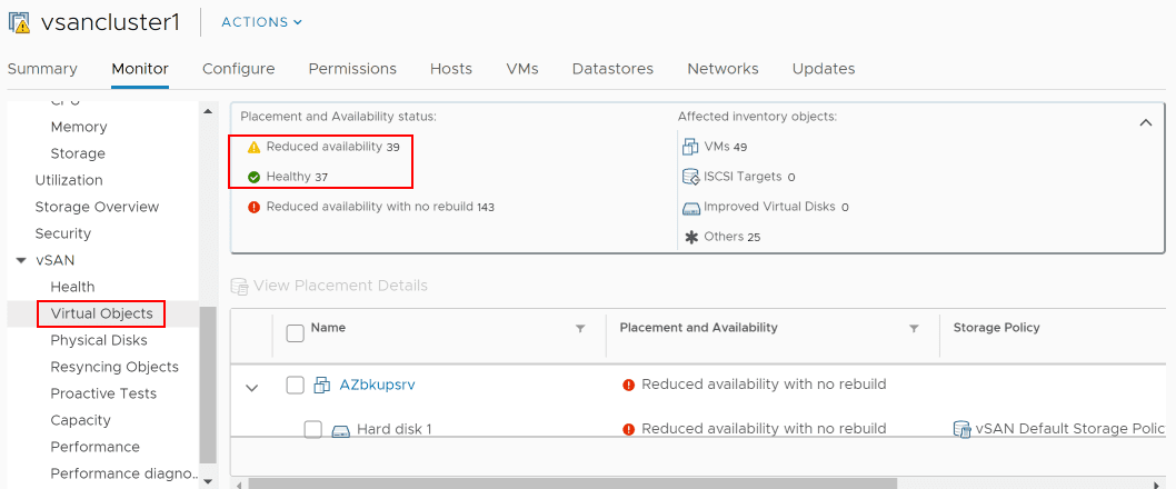 Virtual-Objects-shows-healthy-vs-reduced-availability-objects-in-the-vSphere-client Replacing VMware vSAN Cache Disk and Resyncing vSAN Objects