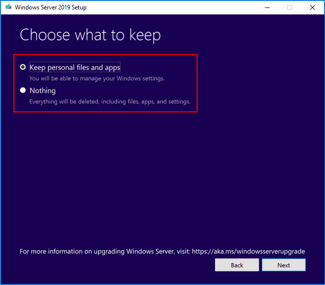 Choose-which-files-to-keep-with-the-Windows-Server-2019-upgrade Upgrading Windows Server 2016 Domain Controller DC to Windows Server 2019