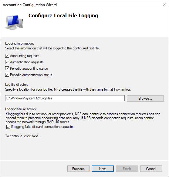 Configure-local-logging-in-the-accounting-properties-of-the-RADIUS-server Installing Configuring Troubleshooting Windows Server 2019 NPS as RADIUS