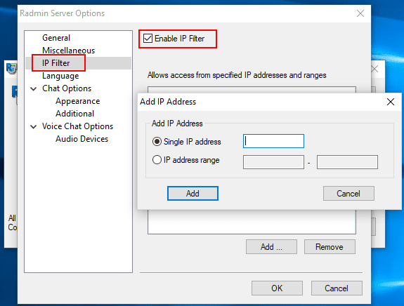 Configuring-the-Radmin-server-IP-Filter Radmin Windows 10 Remote Viewing Support and Console Control Utility