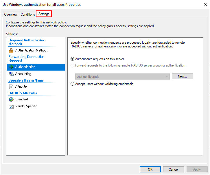 Default-connection-policy-authentication-settings Installing Configuring Troubleshooting Windows Server 2019 NPS as RADIUS