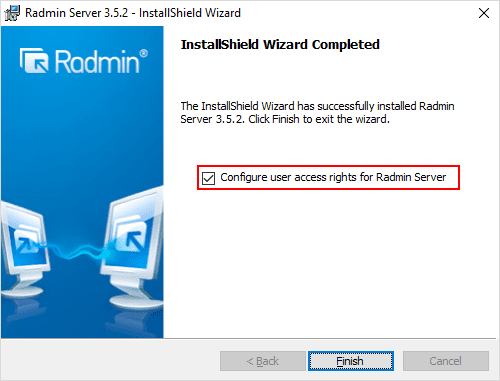 Installation-finished-for-Radmin-Server-Configure-the-permissions-for-access Radmin Windows 10 Remote Viewing Support and Console Control Utility