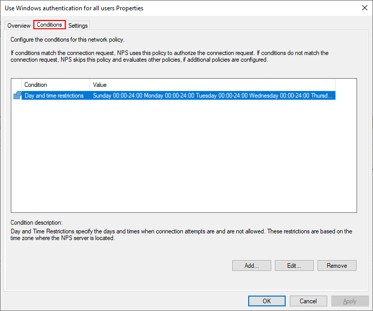 NPS-default-connection-policy-conditions Installing Configuring Troubleshooting Windows Server 2019 NPS as RADIUS