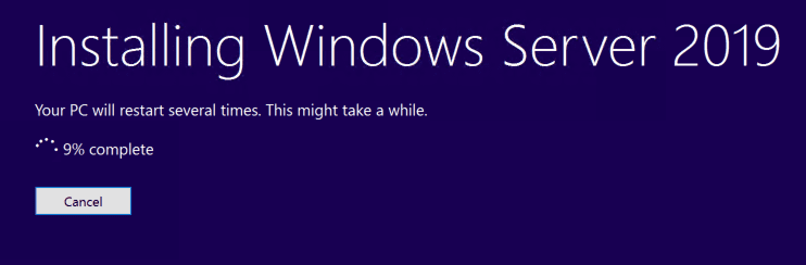 The-Windows-Server-2019-installation-process-begins Upgrading Windows Server 2016 Domain Controller DC to Windows Server 2019