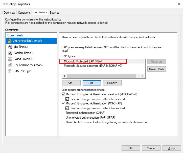 Under-the-constraints-tab-add-PEAP-authentication Installing Configuring Troubleshooting Windows Server 2019 NPS as RADIUS