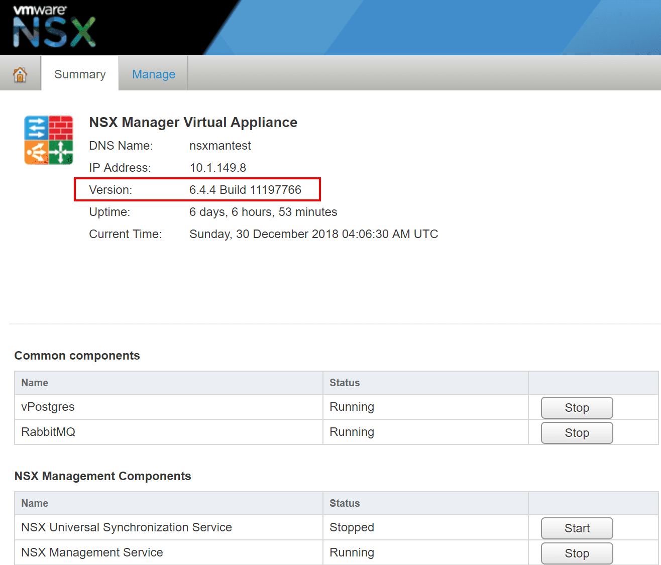 Verifying-the-NSX-Manager-version-is-6.4.4-after-the-upgrade Upgrading NSX Data Center for vSphere Manager to 6.4.4