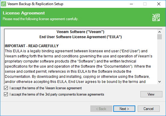 Accepting-the-EULA-for-Veeam-Backup-Replication-9.5-Update-4-updater Veeam Backup and Replication Update 4 Released New Features Upgrade Process