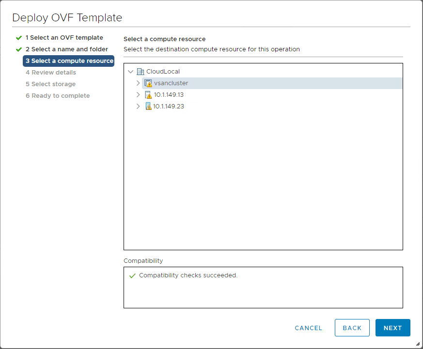 Choose-the-compute-resource Installing vRealize Network Insight 4.0 Platform and Proxy Appliances