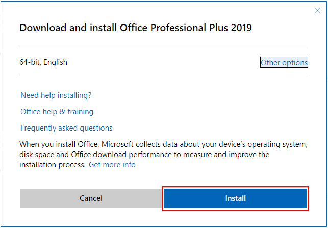 Choose-to-Install-which-will-download-the-installation-file Office 2019 vs Office 365 Differences and Installation