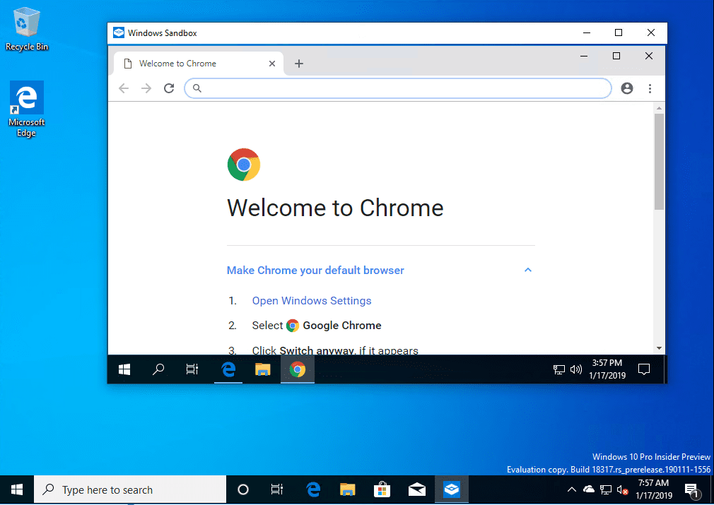 Chrome-installed-and-launched-inside-the-Windows-10-Sandbox-app Installing New Windows 10 Sandbox Feature Networking Resources Browsers Security