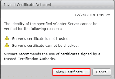 Invalid-certificate-detected-on-the-vCenter-Server-View-Certificate Connect VMware Horizon 7.7 Connection Server to vCenter Server