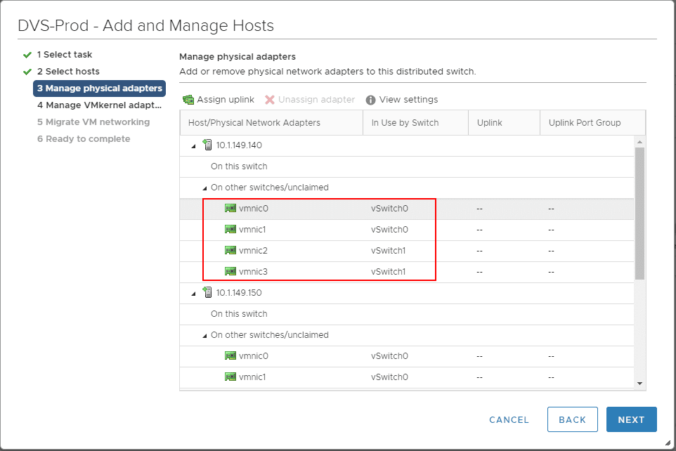 Manage-the-physical-adapters-connected-to-the-new-vSphere-Distributed-Switch Create VMware vSphere Distributed Switch VDS for NSX Data Center