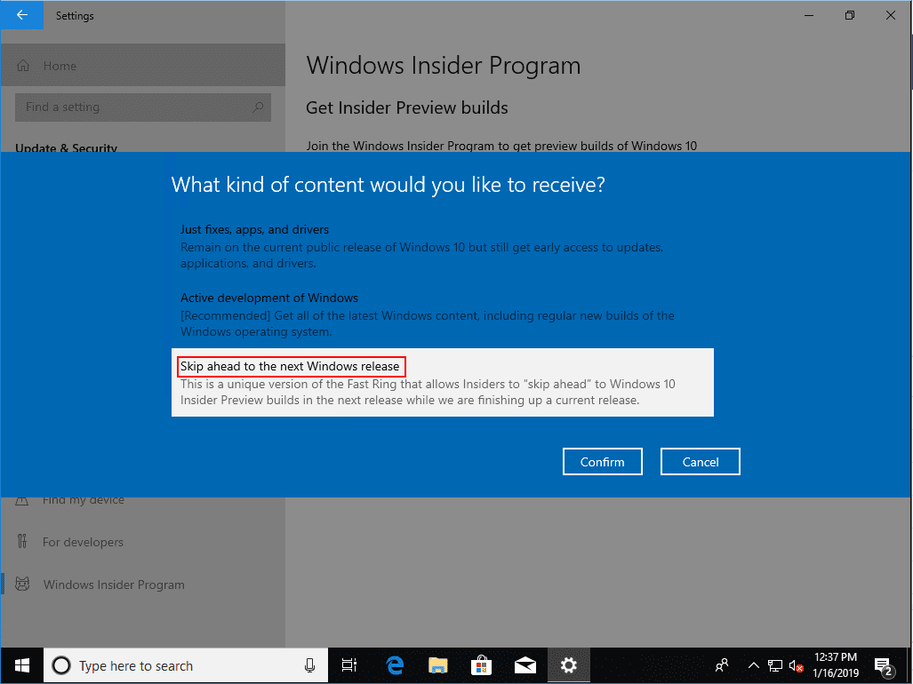 Picking-what-kind-of-content-you-would-like-to-receive Installing Windows 10 Insider Preview 18317 New Features No ISO