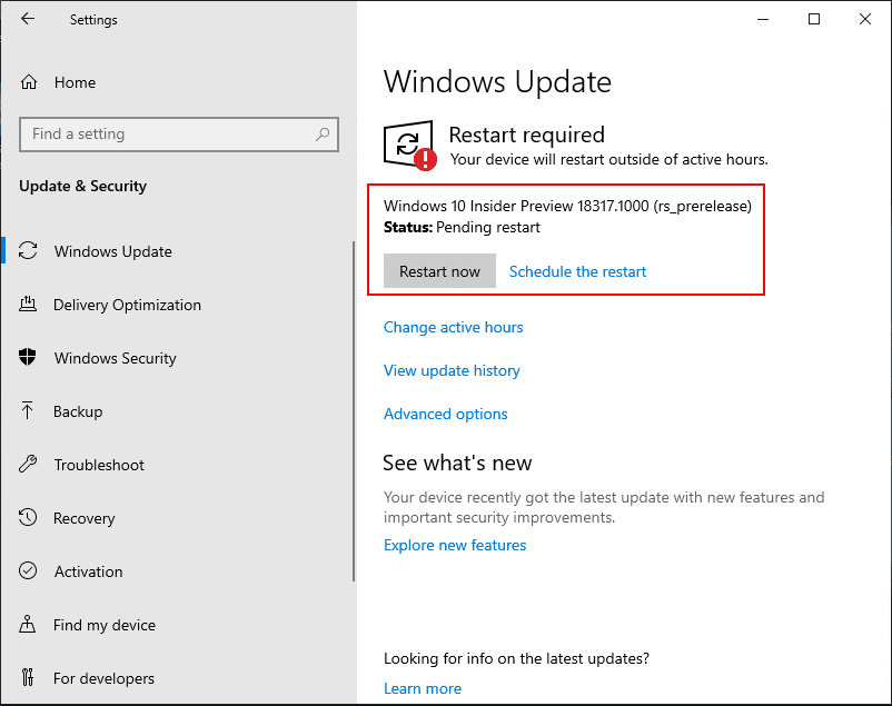Restart-required-to-install-and-setup-the-Windows-Insider-Preview-build-18317 Installing Windows 10 Insider Preview 18317 New Features No ISO