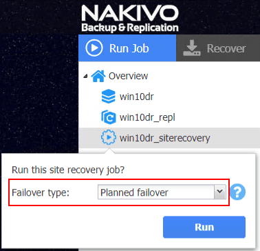 Selecting-the-failover-type-for-the-site-recovery-job Automate Network Changes in DR for Replicated VMs with NAKIVO