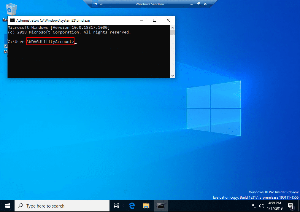 The-New-Windows-10-Sandbox-app-is-run-under-the-WDAGUtilityAccount-user-account Installing New Windows 10 Sandbox Feature Networking Resources Browsers Security
