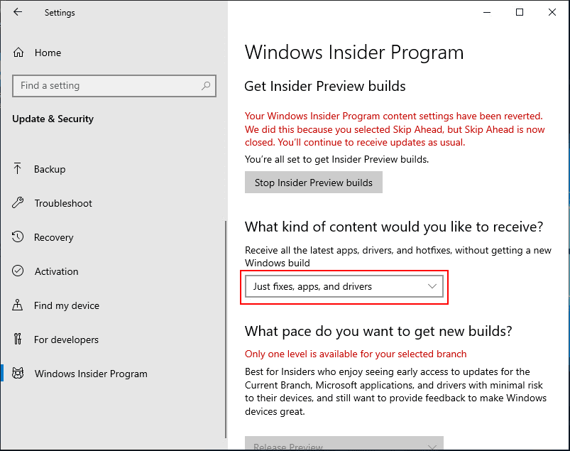 Your-program-settings-have-been-reverted-error Installing Windows 10 Insider Preview 18317 New Features No ISO