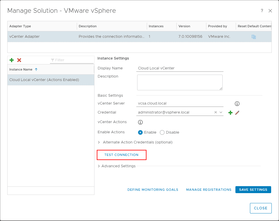 Click-Test-Connection-to-check-the-connection-between-vROPs-and-vCenter-Server VMware vROPs 7 Error Adapter Instance Configured to Trust Multiple Certificates