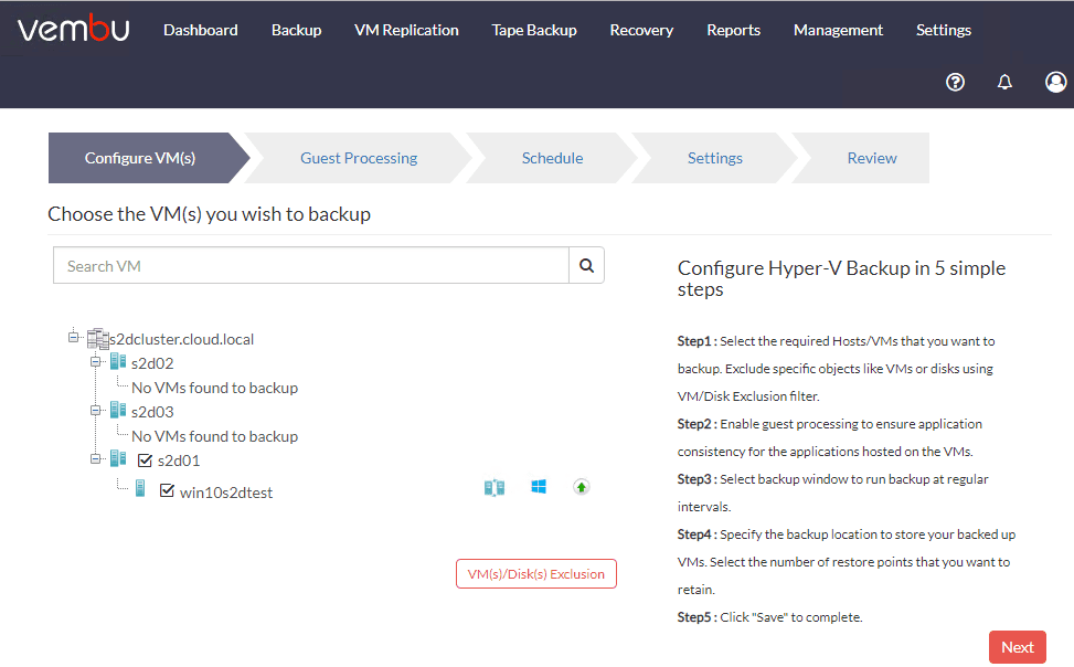 Step-1-Select-the-Hyper-V-VM-you-want-to-backup Vembu BDR Suite 4.0 Product Review
