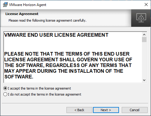 Accept-the-VMware-Horizon-7.8-agent-installation-EULA Upgrade VMware Horizon Agent to 7.8