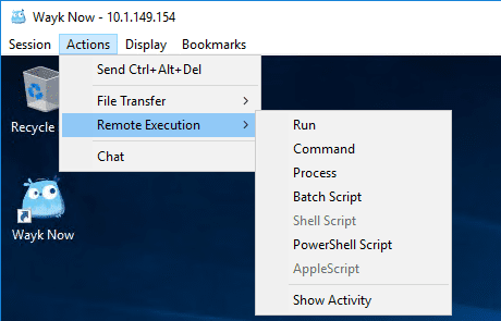 Actions-menu-remote-execution-options-possible-with-Wayk-Now-free-remote-access-tool Devolutions Wayk Now Free Remote Access Tool