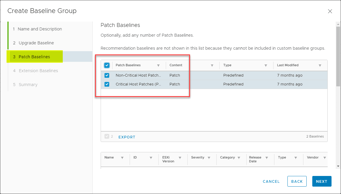 In-Step-3-you-can-add-Non-critical-and-Critical-Host-Patches-to-the-Baseline-Group Select Multiple Patch Baselines in vSphere 6.7 Update 1 HTML 5 vSphere Client
