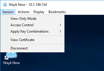 Looking-at-the-session-menu-in-Wayk-Now-free-remote-access-tool Devolutions Wayk Now Free Remote Access Tool