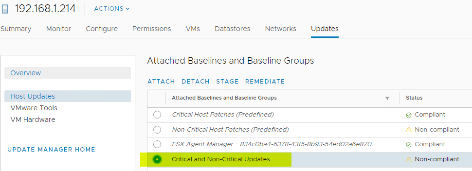 Selecting-the-newly-attached-baseline-group-for-host-remediation Select Multiple Patch Baselines in vSphere 6.7 Update 1 HTML 5 vSphere Client