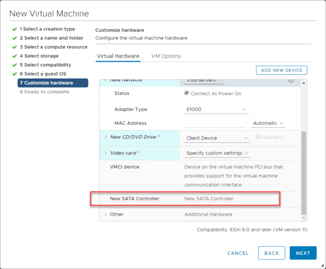 Adding-a-new-SATA-controller-for-mounting-the-downloaded-Nutanix-CE-VMDK Install Nested Nutanix CE in VMware vSphere ESXi 6.7 Update 1